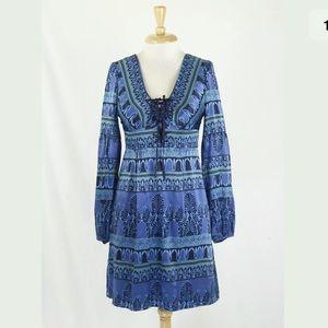 Nanette Lepore Printed Silk Boho Peasant Dress